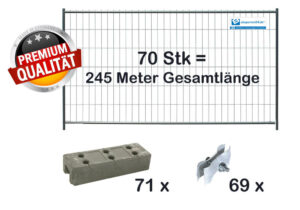 Bauzaun Set / Paket | 70 Stk light