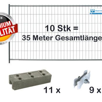 Bauzaun Paket 10 Stk Bauzaunelemente classic 2