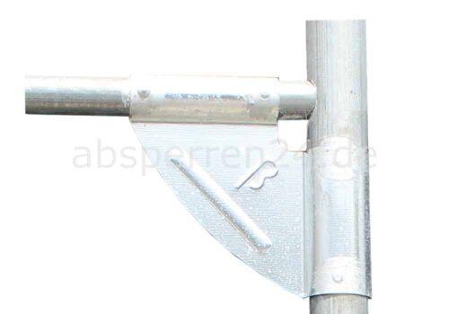 Bauzaun mit Eckverstärkung - Detail